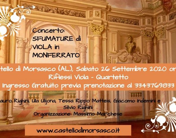 "Il ""Quartetto Riflessi Viola"" in concerto al castello di Morsasco"